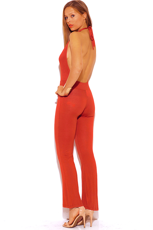 Cute cheap rust orange deep v neck halter backless summer jumpsuit