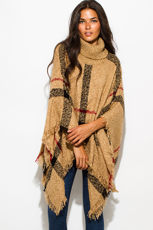 Cute cheap camel beige giant checker plaid fuzzy boho knit poncho sweater jacket tunic top
