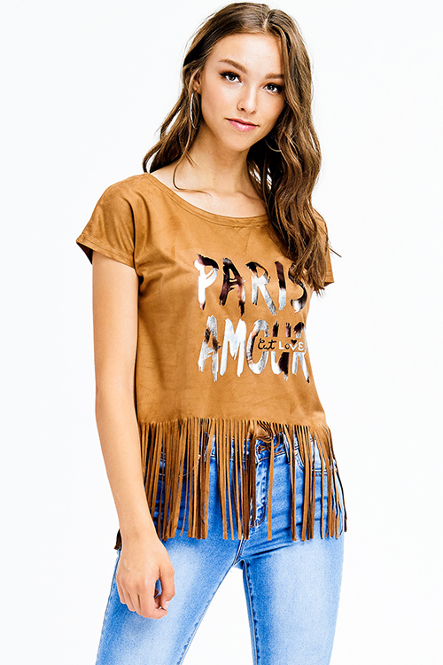 Cute cheap camel brown faux suede graphic print short sleeve fringe hem top