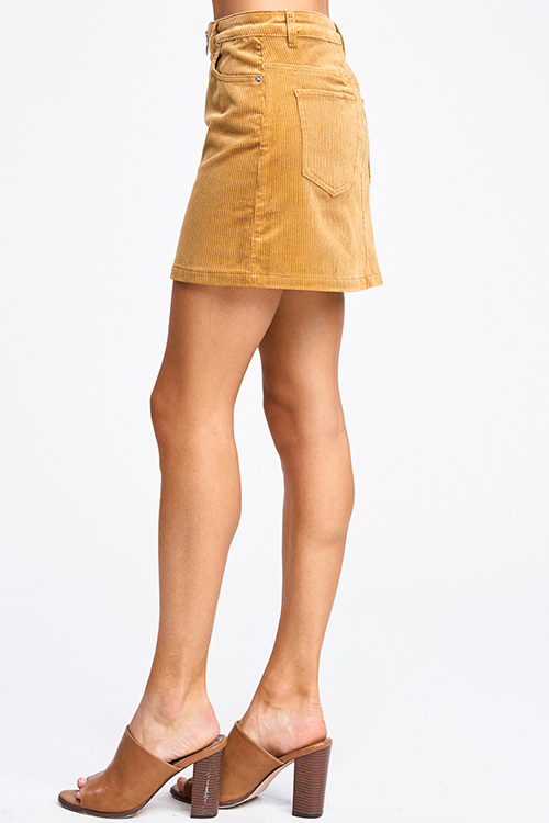Cute cheap Camel khaki gold tan corduroy mid rise zip up boho retro mini skirt