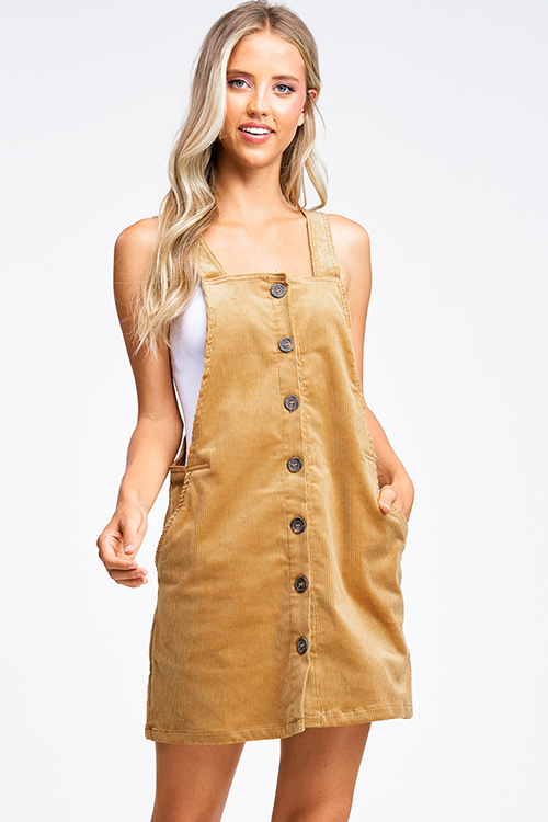 Cute cheap Camel tan corduroy button up pocketed boho retro overall pinafore mini dress