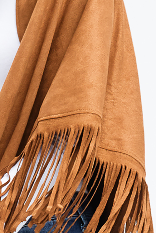 Cute cheap camel tan faux suede fringe trim asymmetric hem boho cape shawl top