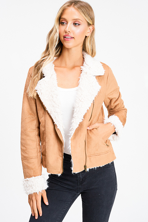 Cute cheap Camel tan faux suede sherpa fleece lined zip up pocketed fitted moto jacket