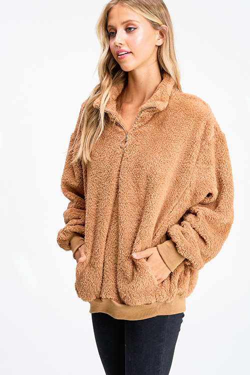 Cute cheap Camel tan fuzzy fleece long sleeve quarter zip pocketed pullover teddy jacket