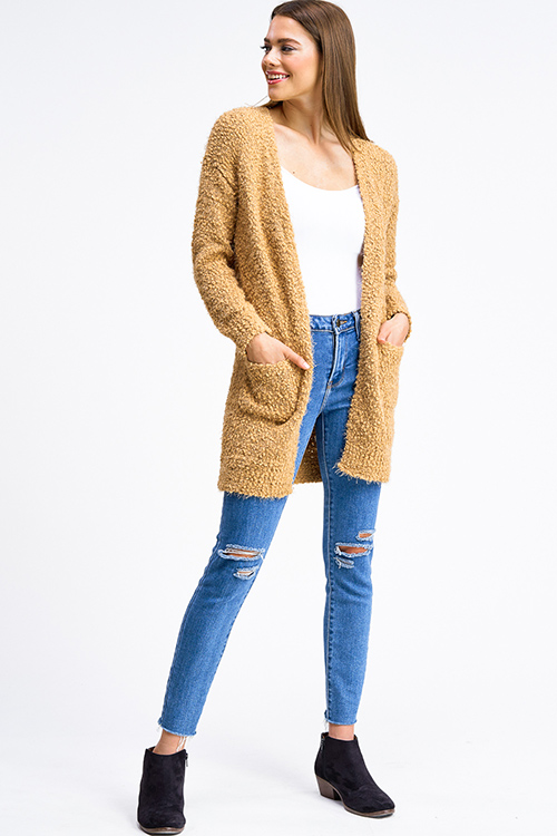 Cute cheap Camel tan popcorn knit long sleeve open front pocketed boho fuzzy sweater cardigan