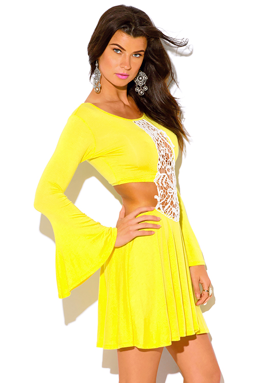 Cute cheap canary yellow crochet cut out backless bell sleeve boho summer party mini sun dress
