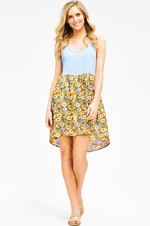 Cute cheap chambray mustard yellow floral print contrast smocked racer back boho mini sun dress