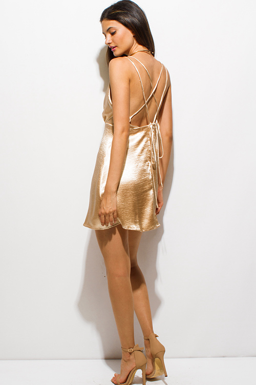 Shop champagne gold crinkle satin criss cross caged backless ...