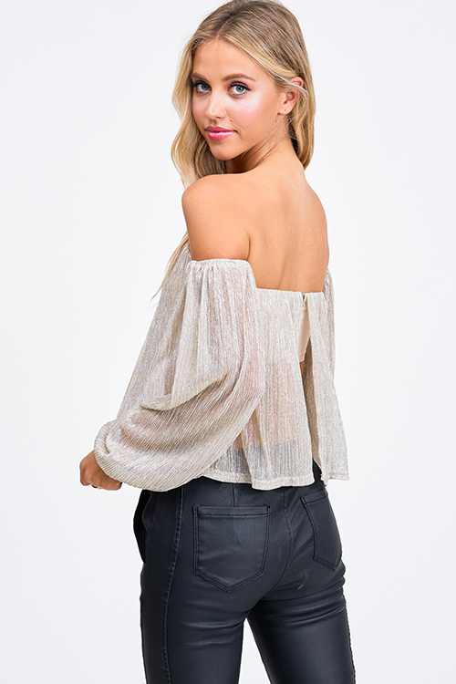 Cute cheap Champagne gold sheer lurex metallic off shoulder long sleeve party blouse top