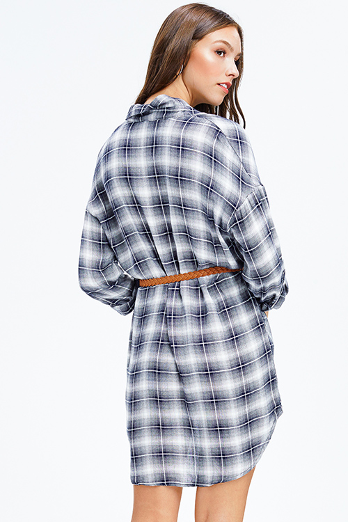 Cute cheap charcoal and navy plaid long sleeve belted button up tunic top boho mini shirt dress