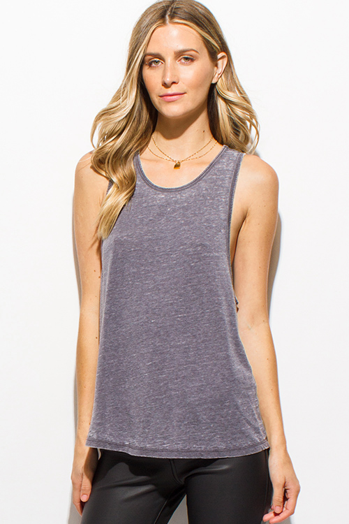 Cute cheap charcoal gray burnout scoop sleeveless destroyed distressed tank top