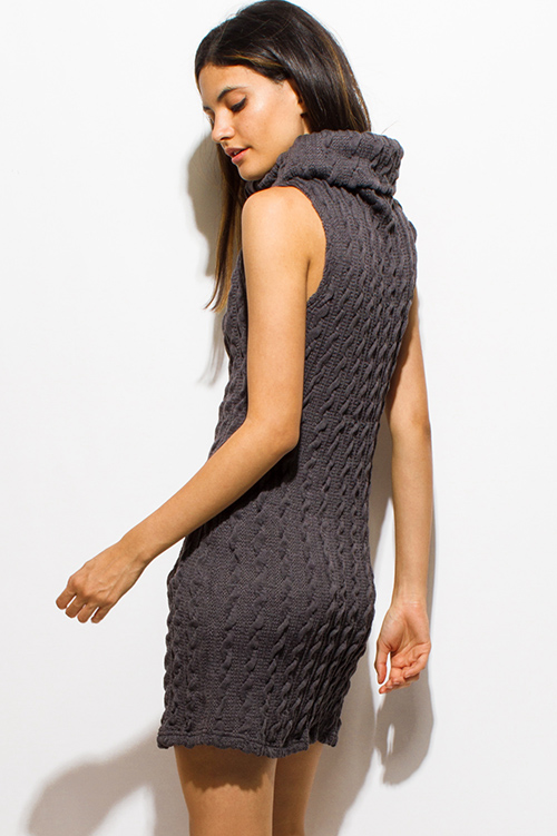 Cute cheap charcoal gray cable knit cowl turtleneck pocketed sweater mini dress
