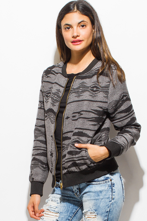 Cute cheap charcoal gray ethnic print long sleeve knit pocketed zip up bomber jacket