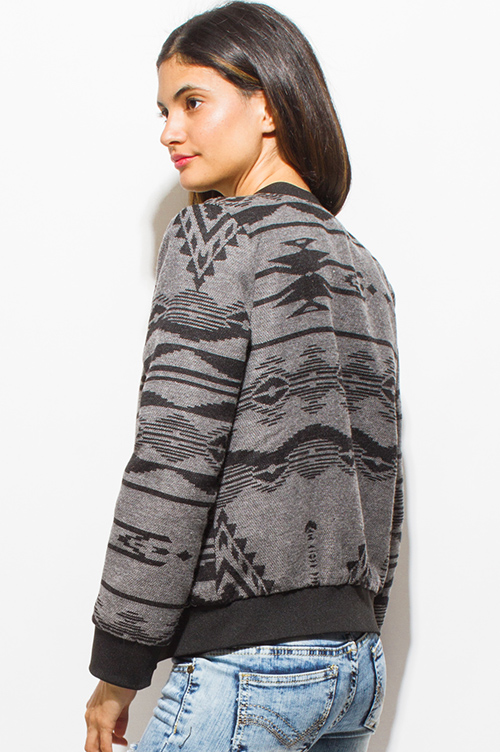 4cca281d62578 Cute cheap charcoal gray ethnic print long sleeve knit pocketed zip up  bomber jacket