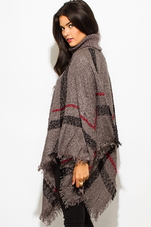 Cute cheap charcoal gray giant checker plaid fuzzy boho knit poncho sweater jacket tunic top
