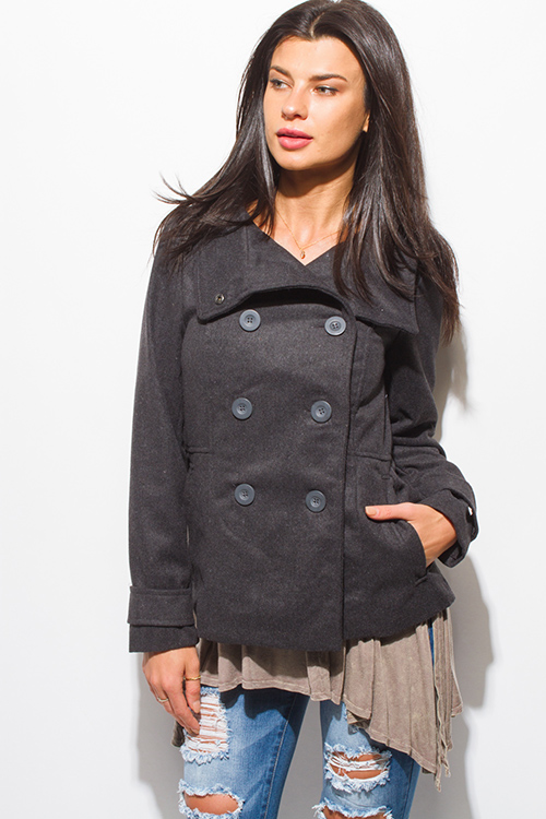 Cute cheap charcoal gray long sleeve double breasted pocketed peacoat jacket