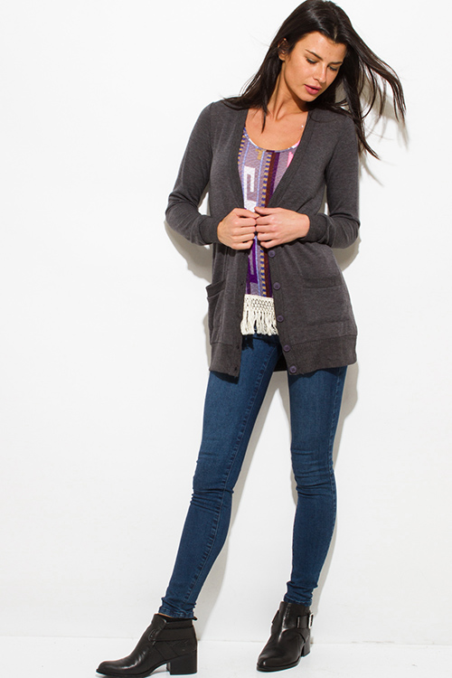 Cute cheap charcoal gray long sleeve pocketed ribbed knit hem boho button up cardigan top