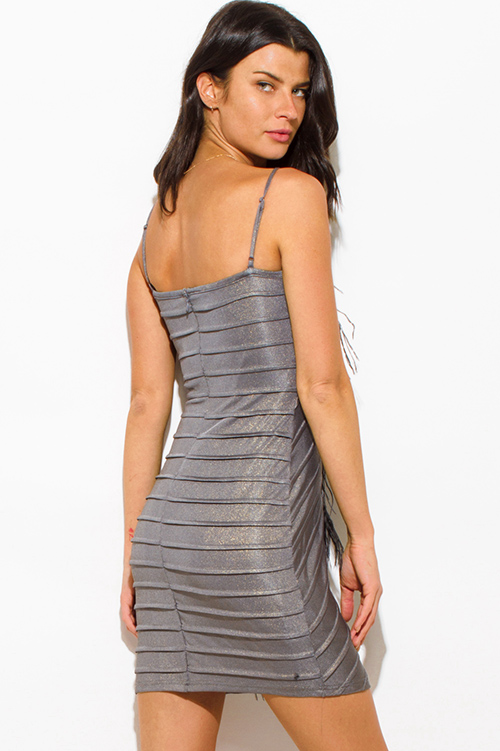 Cute cheap charcoal gray metallic feather trim bandage bodycon fitted club mini dress