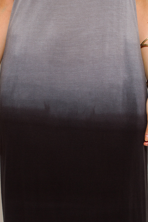 Cute cheap charcoal gray ombre washed cut out backless evening maxi sun dress