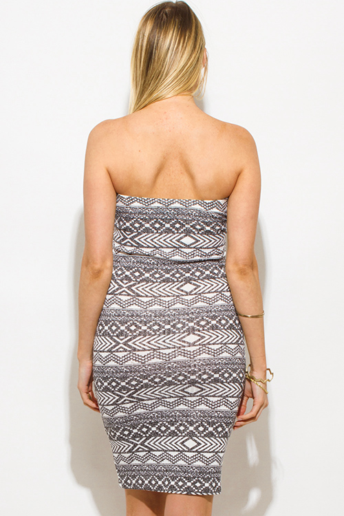 Cute cheap charcoal gray ribbed knit ethnic print strapless tube bodycon fitted club dress