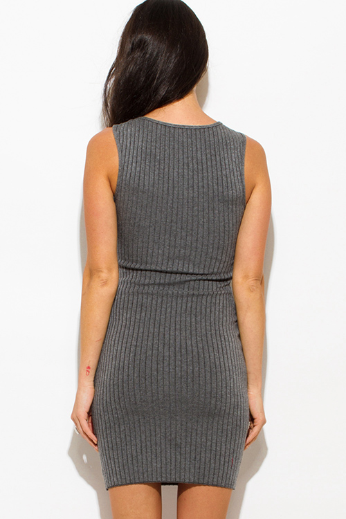 Cute cheap charcoal gray ribbed knit laceup sleeveless fitted bodycon club sweater mini dress