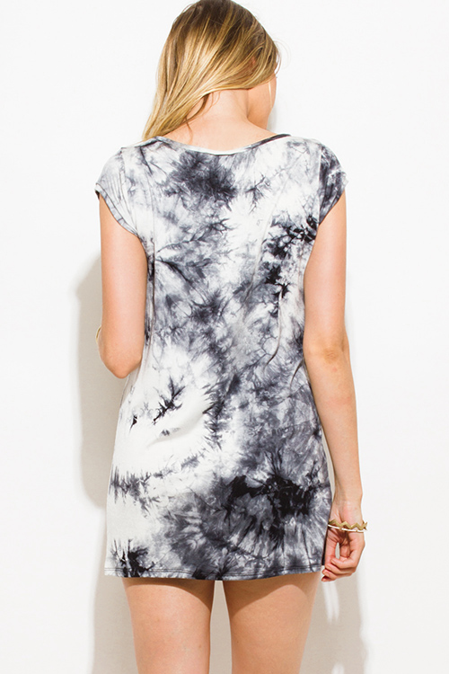 Cute cheap charcoal gray tie dye ripped cut out neckline boyfriend tee shirt tunic top mini dress