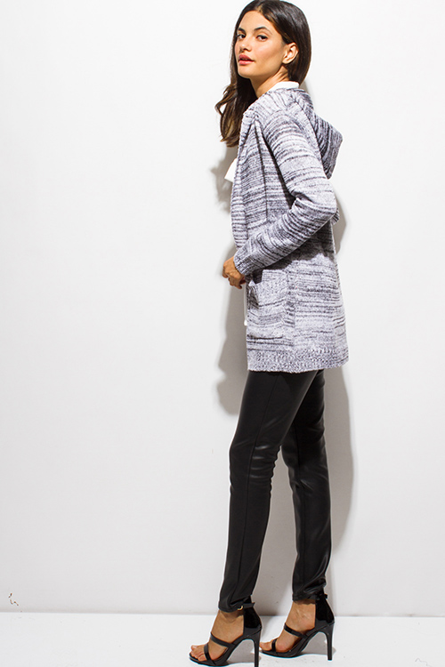 Cute cheap charcoal gray two toned sweater knit hooded pocketed open front cardigan jacket