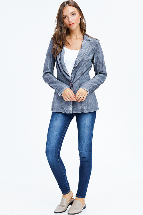 Cute cheap charcoal grey acid washed linen long sleeve single button summer blazer jacket