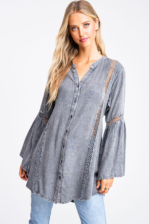 Cute cheap Charcoal grey acid washed long bell sleeve crochet trim button up boho tunic mini shirt dress