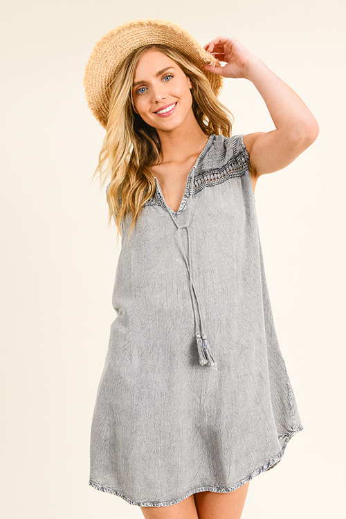Cute cheap Charcoal grey acid washed sleeveless crochet lace trim boho shift peasant mini dress