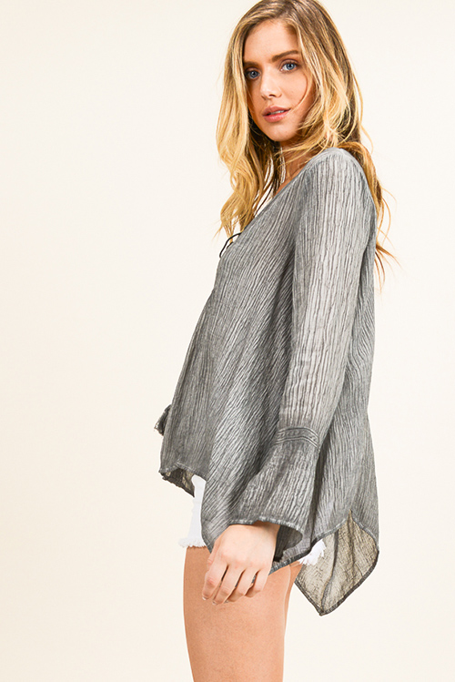 Cute cheap Charcoal grey acid washed tassel tie neck long bell sleeve boho peasant blouse top
