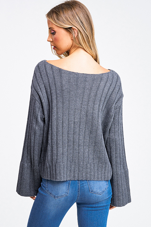 Cute cheap Charcoal grey boat neck long bell sleeve boho chunky ribbed knit sweater top