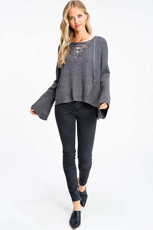 Cute cheap Charcoal grey caged eyelet laceup front long bell sleeve boho sweater top