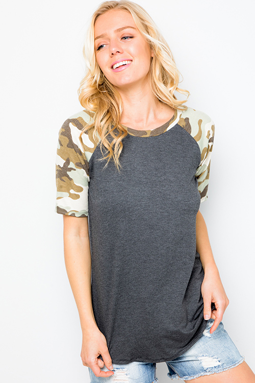 Cute cheap Charcoal grey camo army print color block baseball tee shirt top