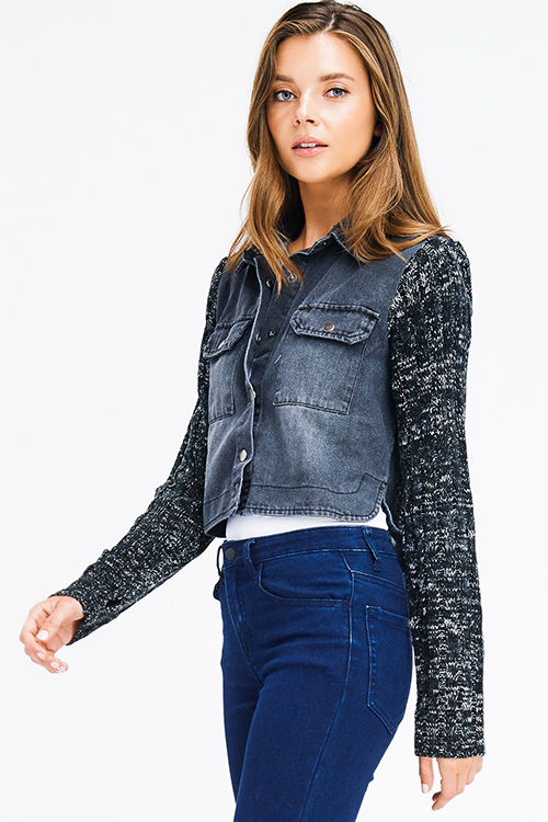 Cute cheap charcoal grey denim sweater knit long sleeve cropped button up jean jacket top
