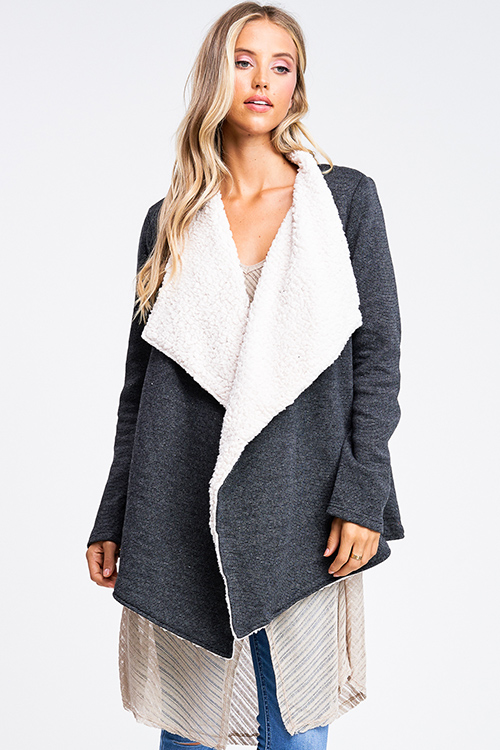 Cute cheap Charcoal grey fleece lined draped neck pocketed open front coat jacket