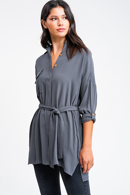 Cute cheap Charcoal grey long sleeve button up belted pocketed boho blouse tunic top