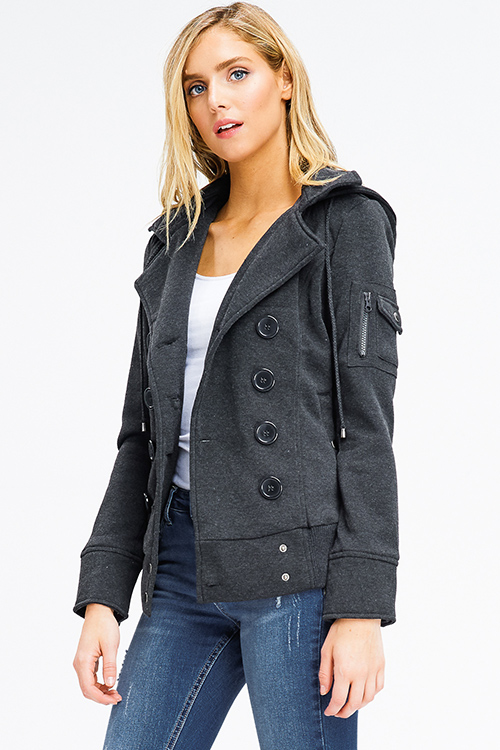 Cute cheap charcoal grey long sleeve double breasted button up hooded pocketed jacket
