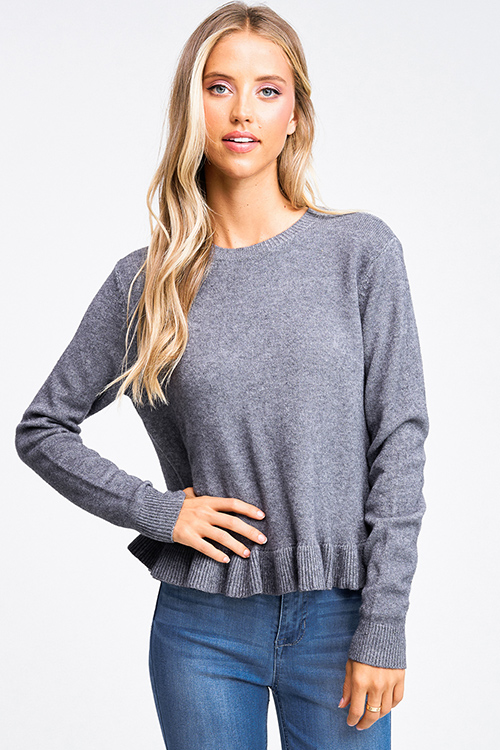Cute cheap Charcoal grey long sleeve ruffle hem boho sweater top