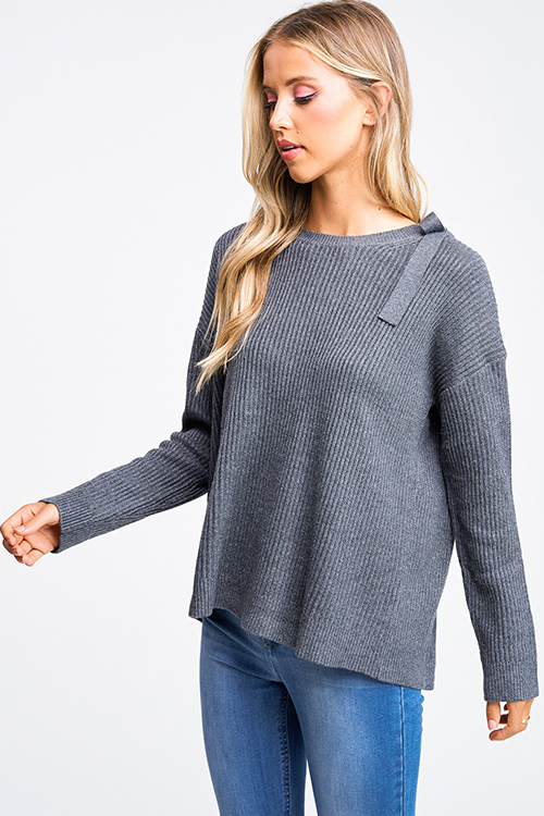 Cute cheap Charcoal grey long sleeve surplice tie back boho ribbed sweater knit top
