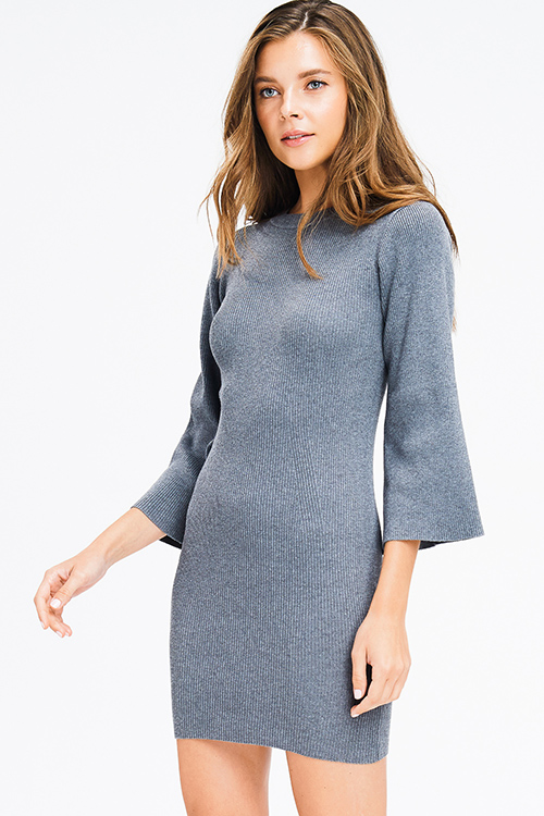 Cute cheap charcoal grey ribbed knit mock neck long bell sleeve sweater knit boho mini dress