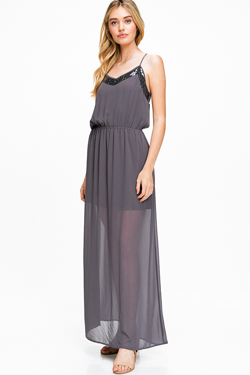 Cute cheap Charcoal grey semi sheer chiffon sequined trim sleeveless racer back evening maxi sun dress