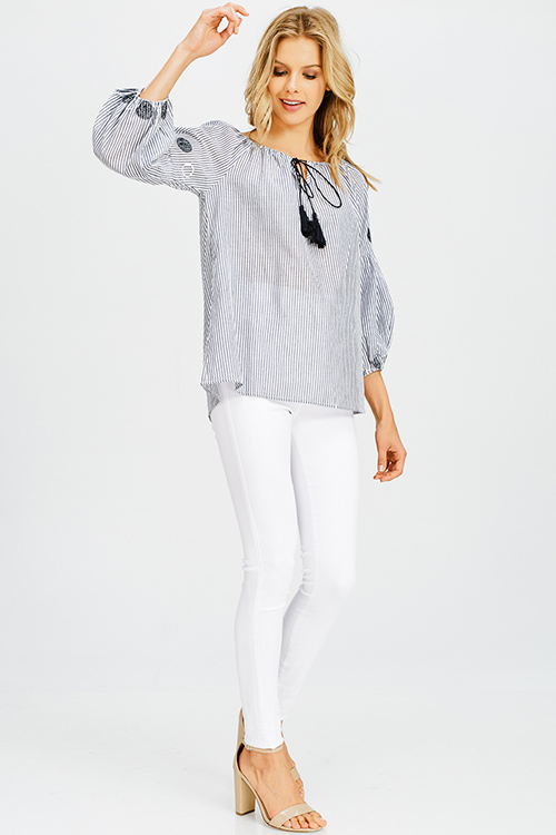 Cute cheap charcoal grey striped embroidered long bubble sleeve boho peasant top