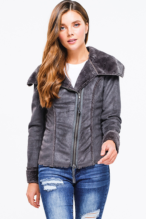 Cute cheap Charcoal grey suede faux fur lined long sleeve zip up fitted jacket