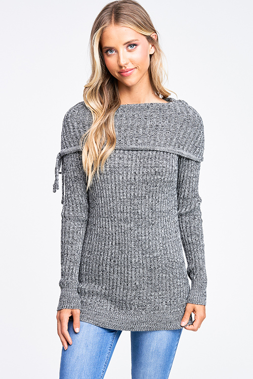 Cute cheap Charcoal grey two tone ribbed knit off shoulder long sleeve boho sweater top