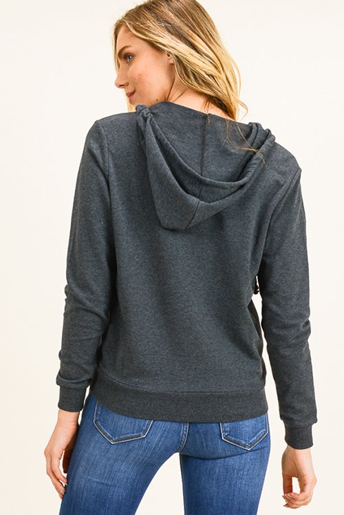 Cute cheap Charcoal grey zip up pocketed zip up sweatshirt hoodie