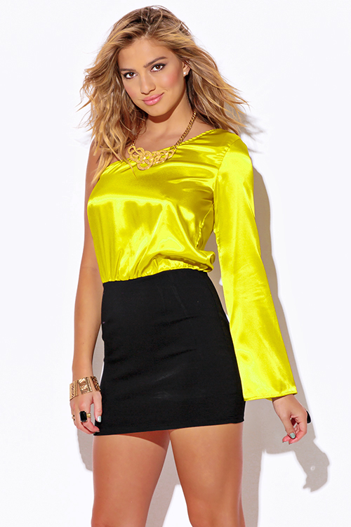 Shop chartreuse yellow satin one shoulder bell sleeve pencil ...