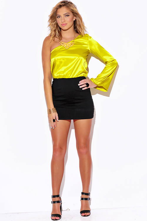 Yellow dresses one shoulder