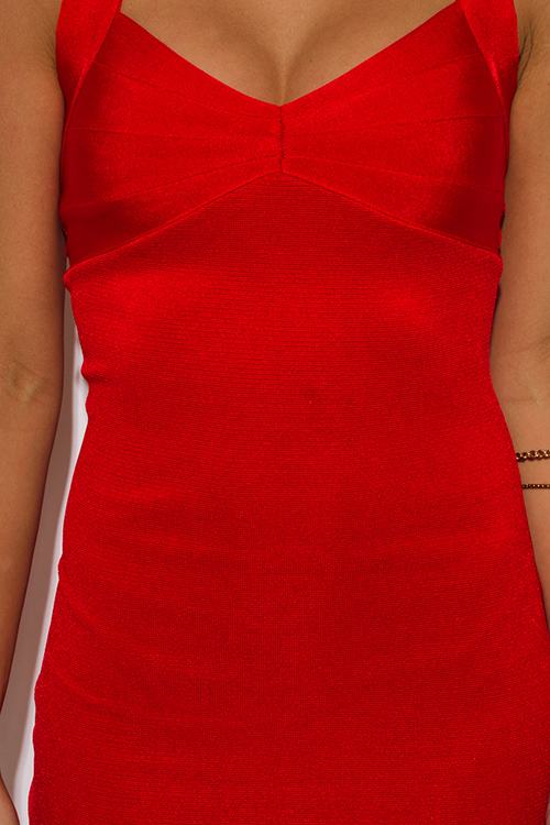 Cute cheap cherry red sweetheart v neck open back fitted bandage club party mini dress