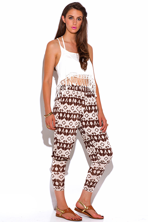 Cute cheap brown and mocha ethnic print slinky tapered boho harem pants